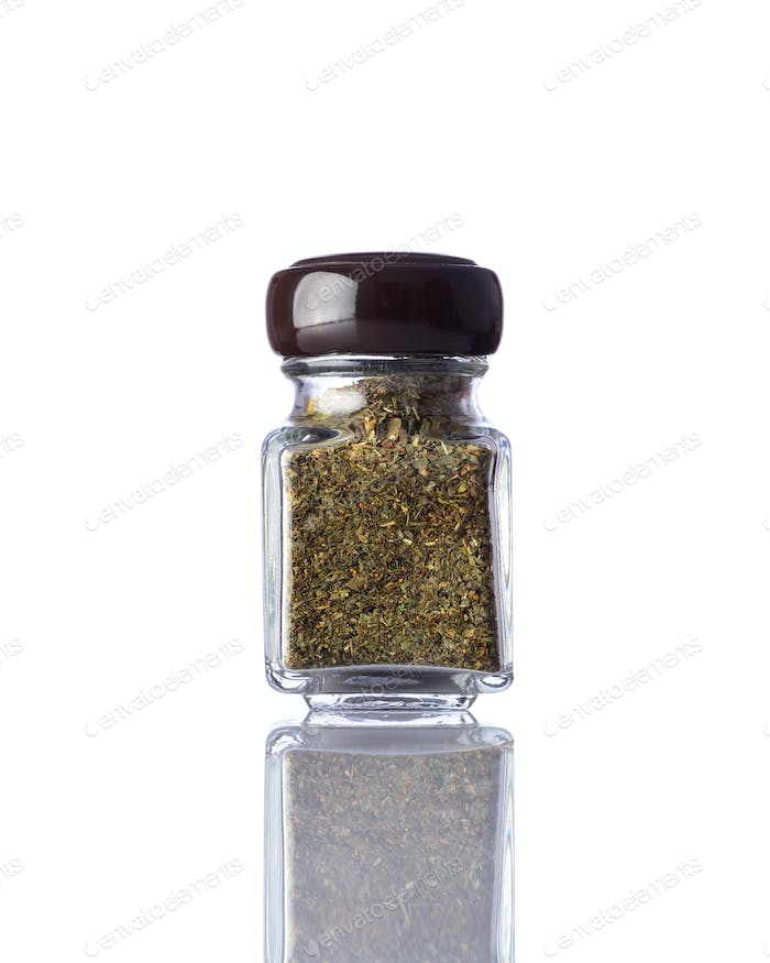Jar Dried Herbs Isolated