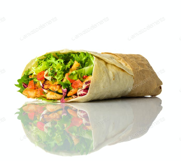 Shawarma Isolated on White Background