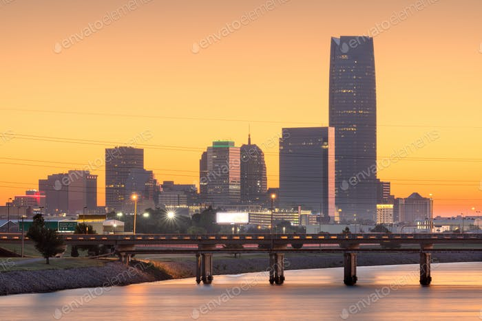 Oklahoma City, Oklahoma, USA River and Skyline