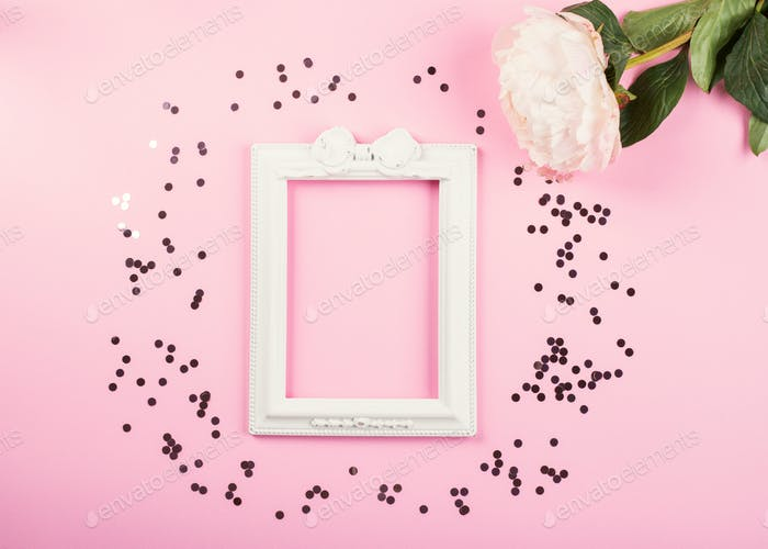Pink pastel frame background with picture frame