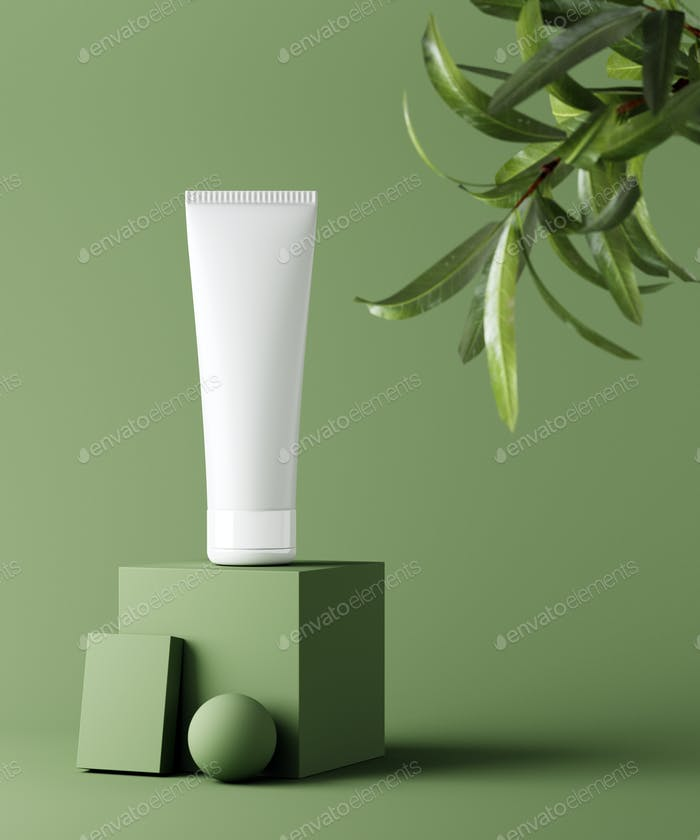 Natural cosmetic minimal stage for product presentation. Cosmetic jar podium and green leaf on