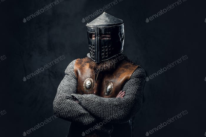 A man dressed in Nordic armor.