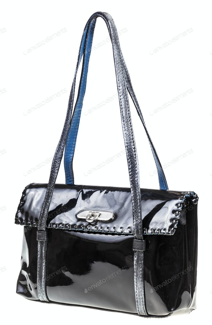 evening bag from black lacquered leather isolated