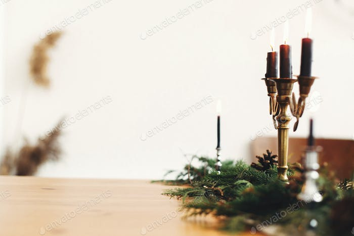 Stylish rustic christmas arrangement for festive dinner