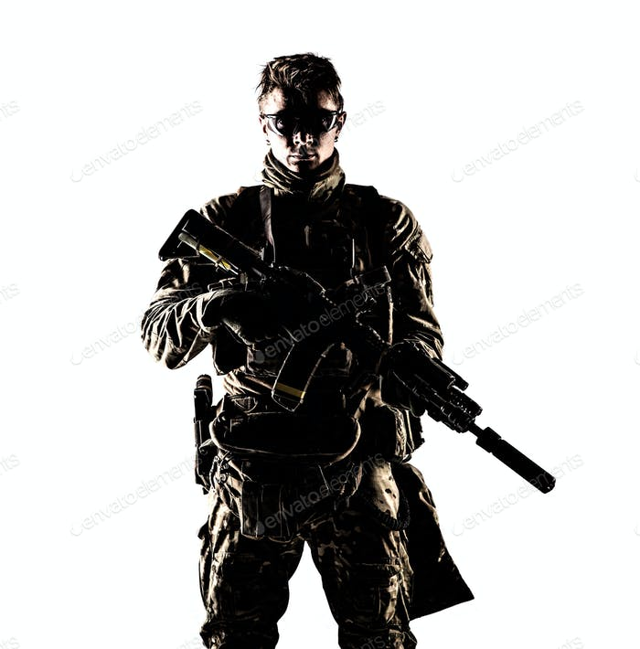 Military company mercenary low key studio portrait