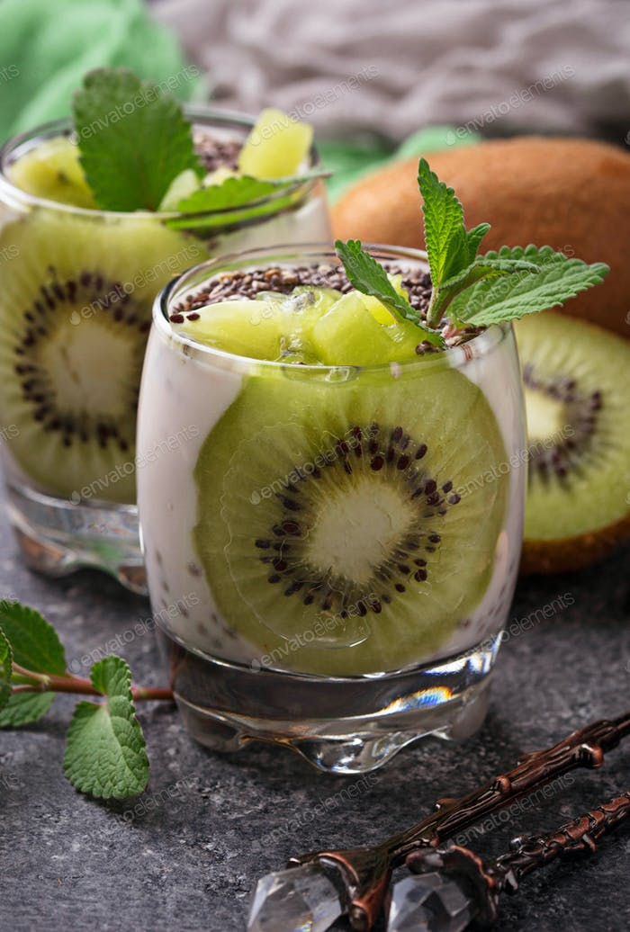 Healthy dessert with kiwi  and chia seeds