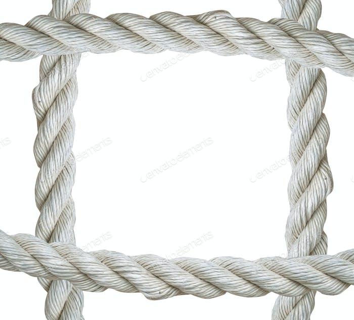 Close up on white rope frame isolated on  background