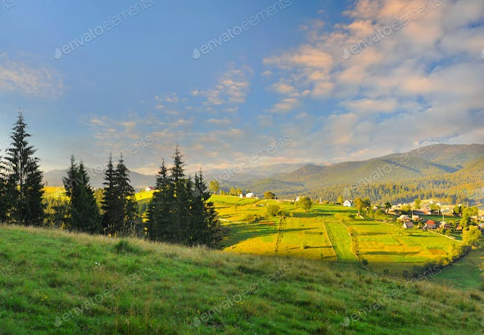 Fantastic morning mountain landscape. Carpathian, Ukraine, Europ