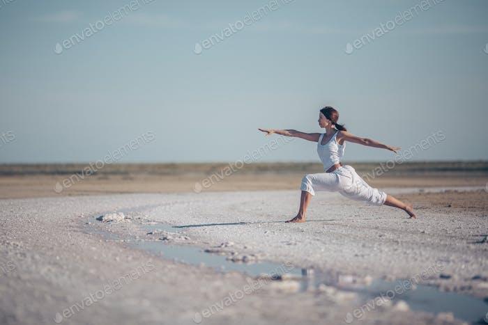Attractive woman doing yoga