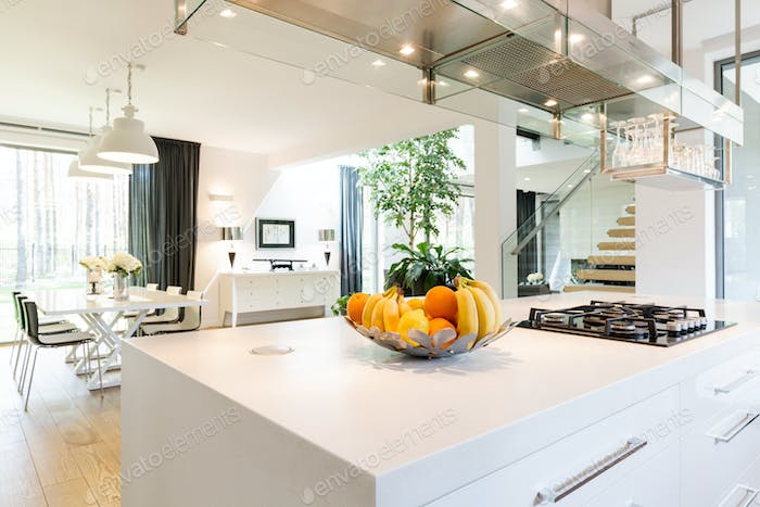 Well-lighted space of open plan kitchen