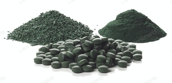 Spirulina flakes, powder and tablets