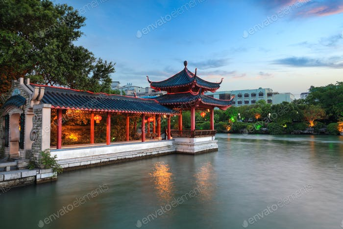traditional pavilion and promenade at dusk