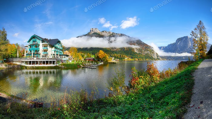 Picturesque autumn scene of Altausseer See lake.