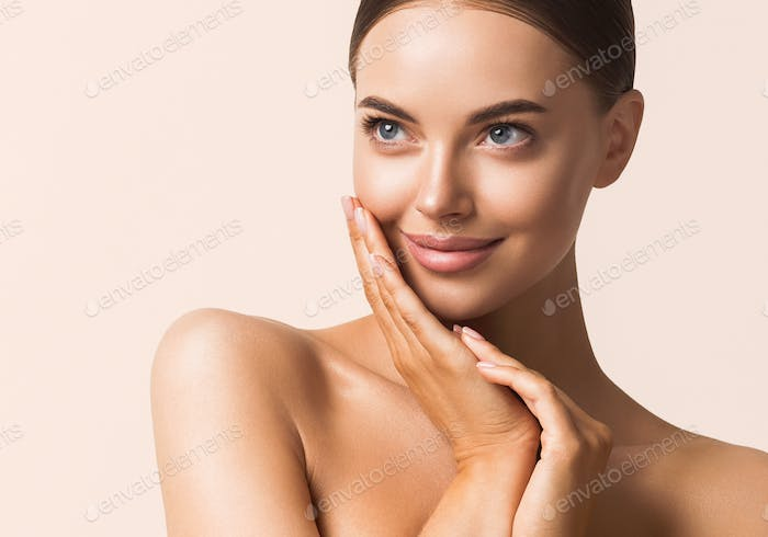 Beautiful young model cosmetic concept portrait tanned skin