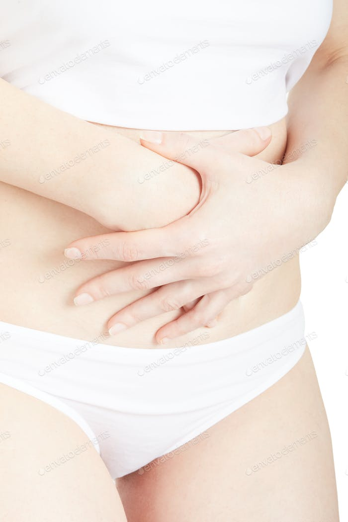 Woman with stomachache or menstrual pain isolated on white, clip