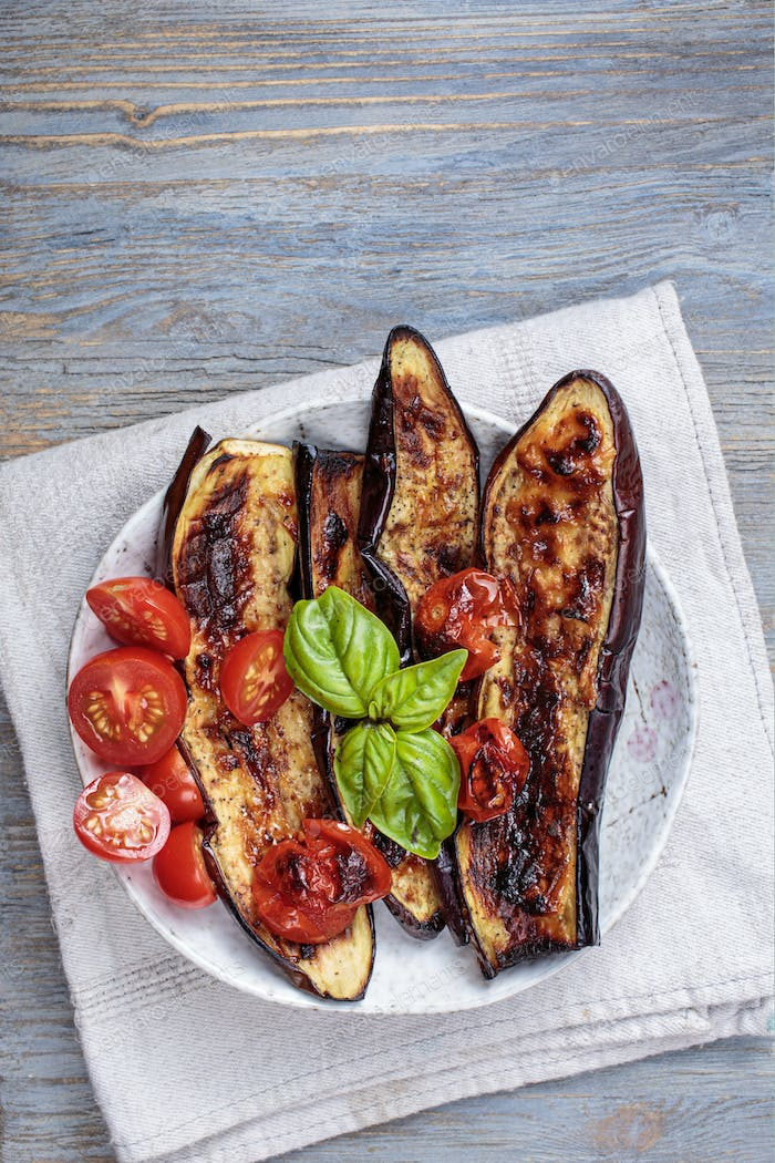 Grilled eggplant above