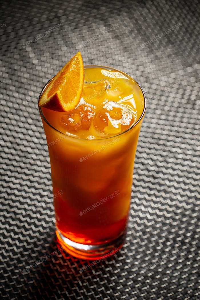 Chilled tropical aperol orange cocktail