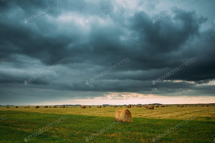 Dramatic Sky Before Rain With Rain Clouds On Horizon Above Rural