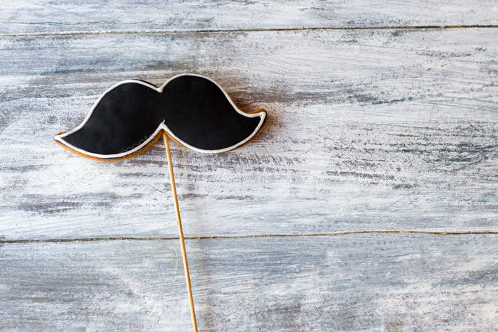 Cookie shaped as moustache