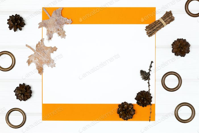 Autumn frame background with empty space for text
