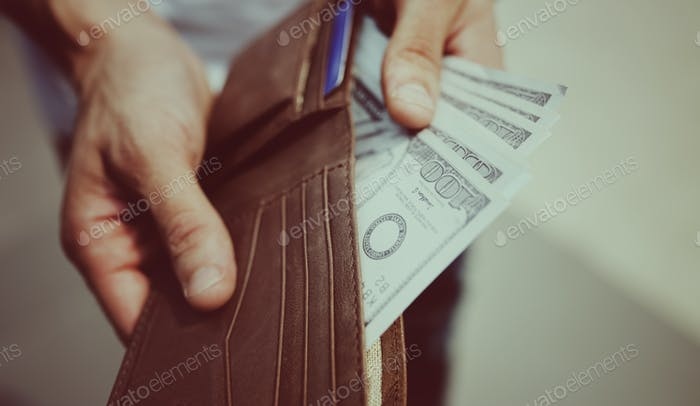 A doller bill in a wallet