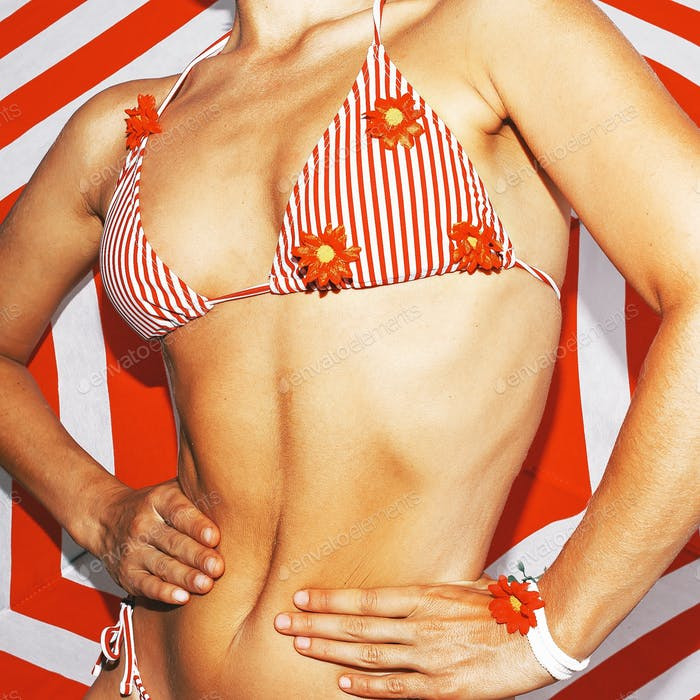 Striped bikini. Striped background. Beach vibes party