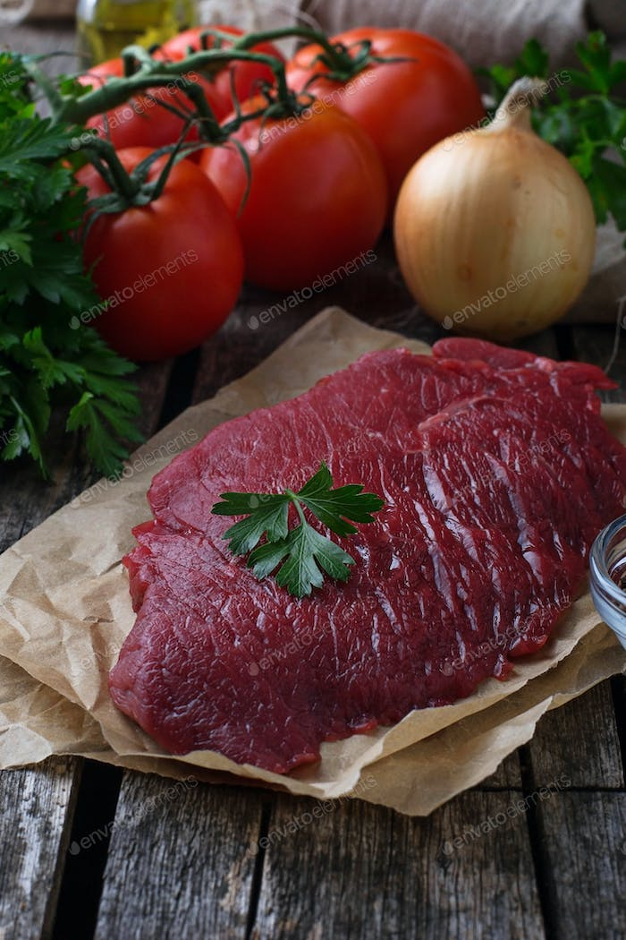 Raw fresh beef steak and vegetable