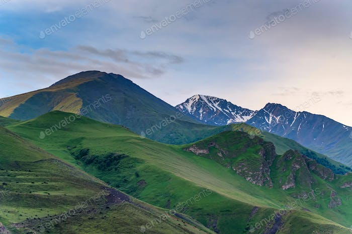 View of beautiful mountains in northern caucasus in the evening or early morning