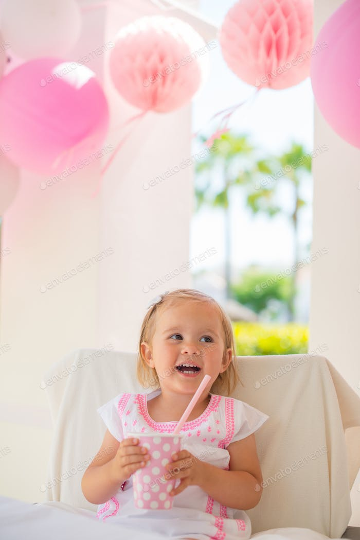 Little Girl Celebrate Happy Birthday Party