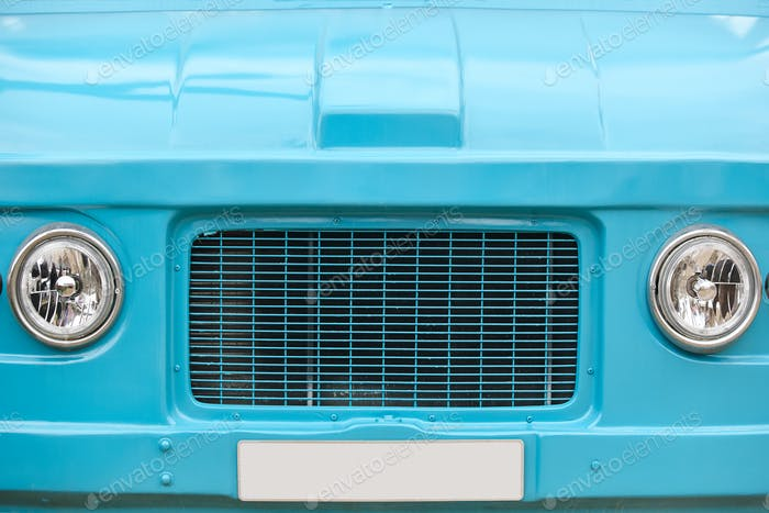 Hippie van front part. Retro vintage vehicle. Blue color. Trip