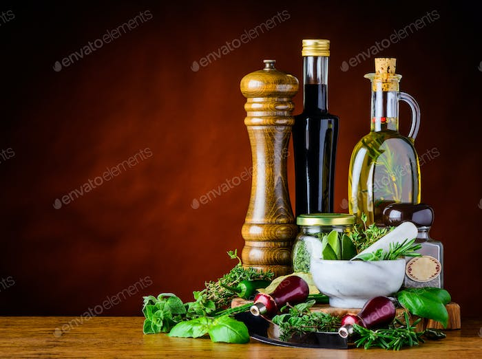 Balsamic Vinegar, Olive Oil and Green Herbs