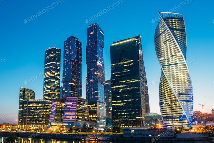 Buildings Of Moscow City Complex Of Skyscrapers At Evening In Mo
