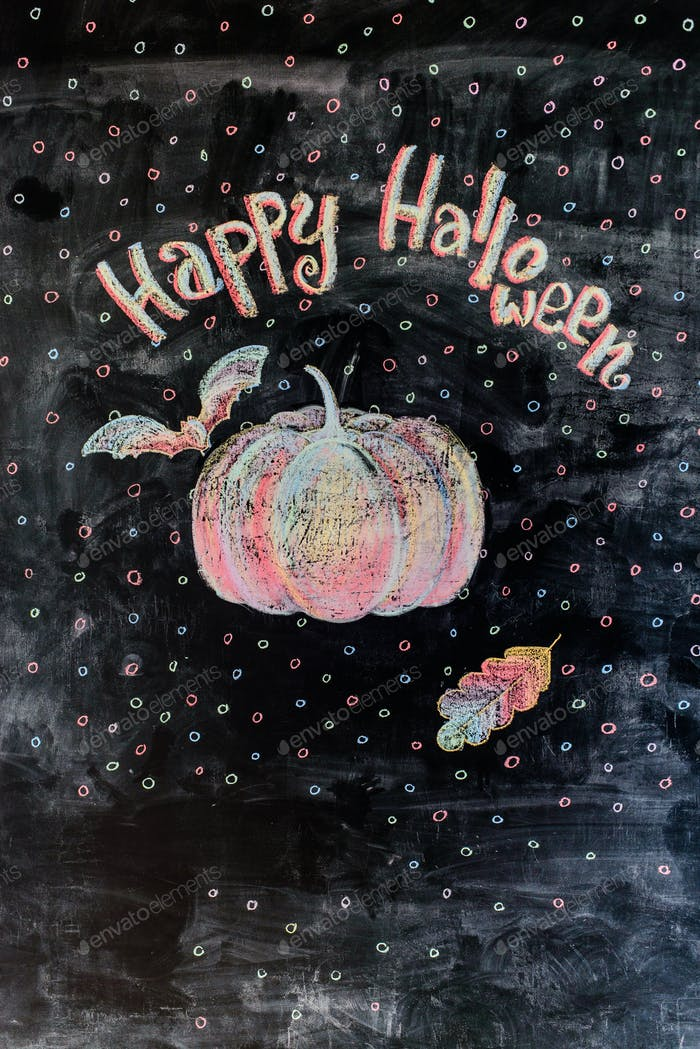 chalk picture happy halloween