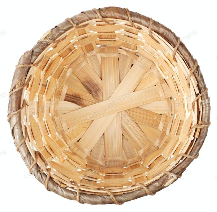 Wooden woven wicker basket