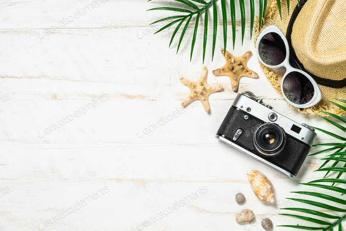Summer travel concept on white background