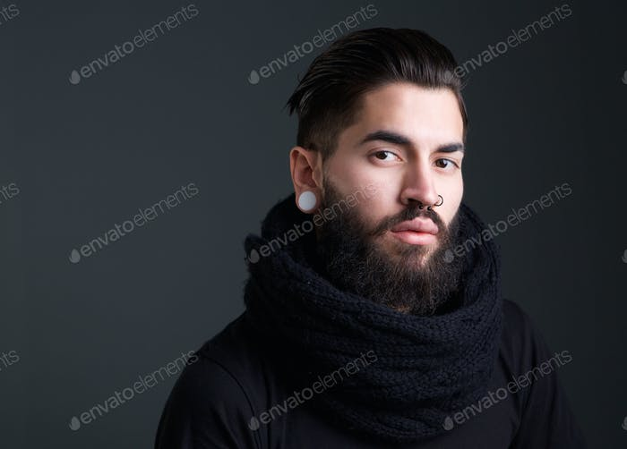 Cool guy with beard and piercings