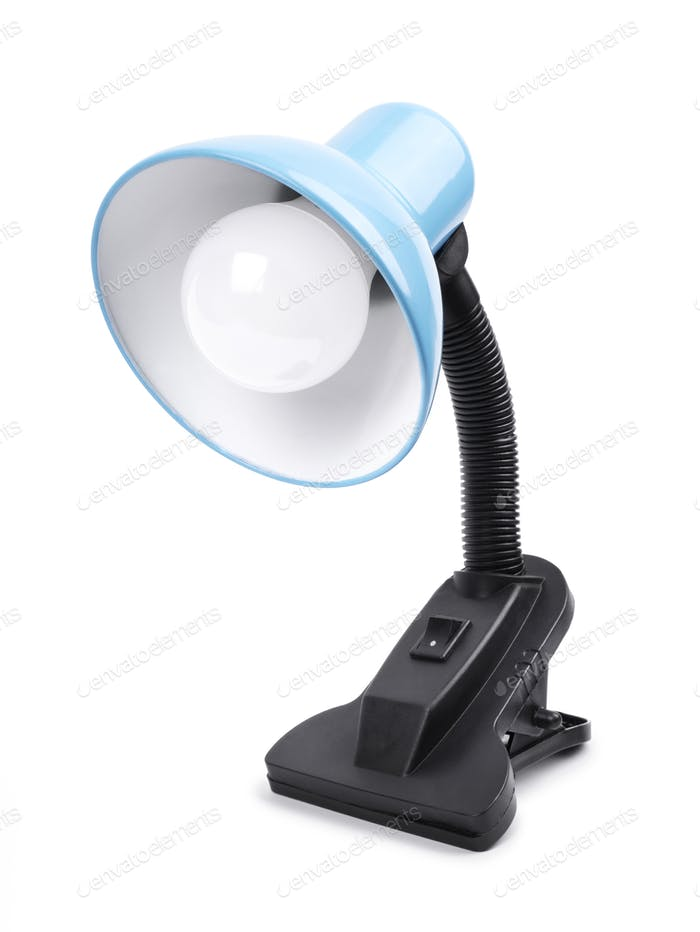 Blue table lamp on a clamp