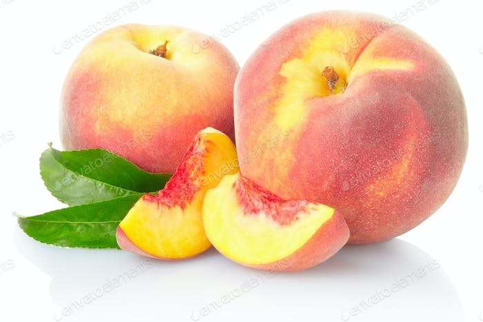 Peach fruit with leaves