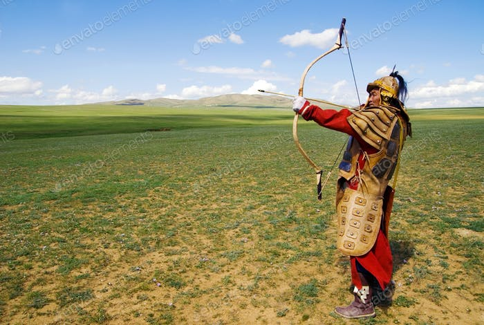 Full Armored Archer Aiming To Shoot