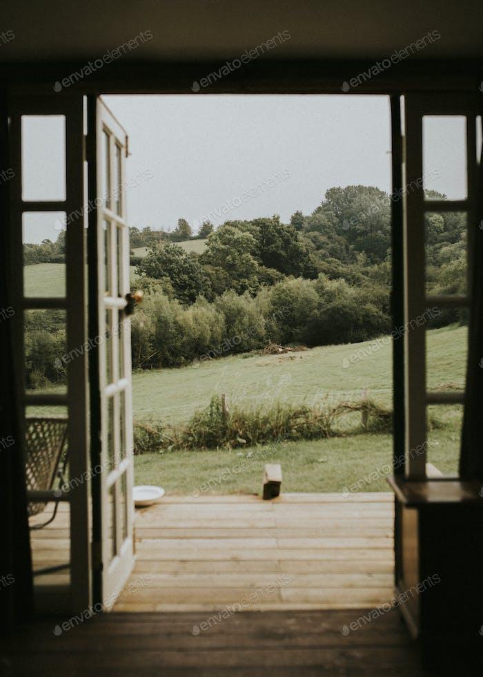 House door is open to nature