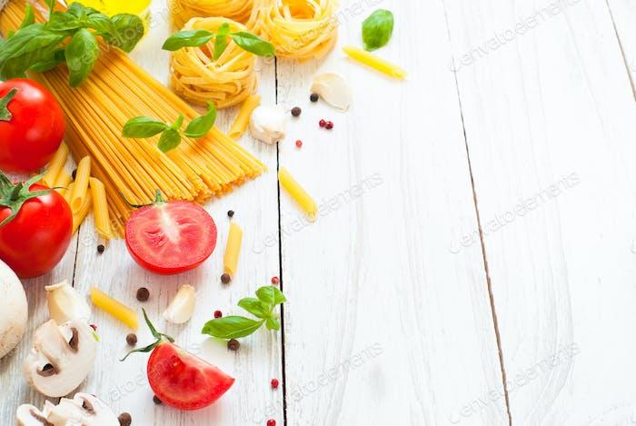 Ingredients for cooking Italian pasta
