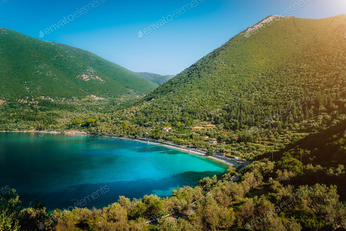 Antisamos beach on Kefalonia island, Greece. Crystal clear water, huge hills overgrown with