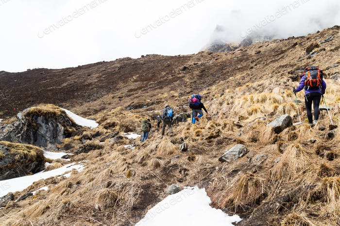 Hikers hiking up a dry and barren terrain en-route Annapurna Base Camp, Nepal