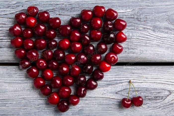 Heart made of dark cherries