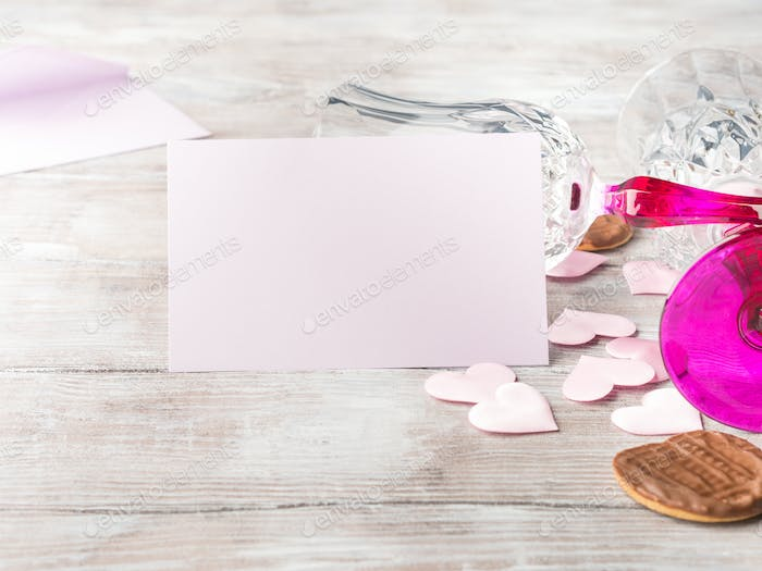 Blank pink invitation for romantic date