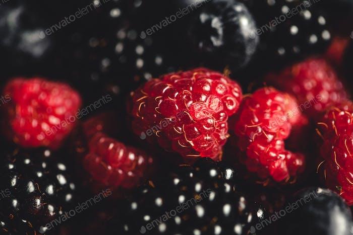 Blackberries and raspberries background