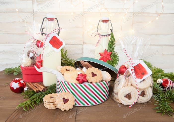 Homemade egg nog and Christmas cookies