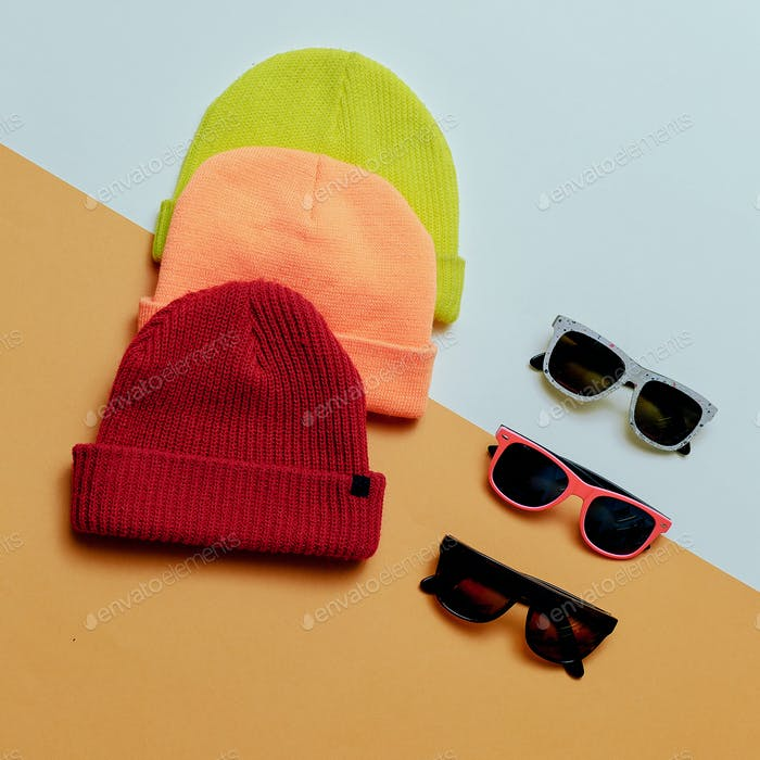 Bright urban. Set hats and glasses. Skateboard fashion
