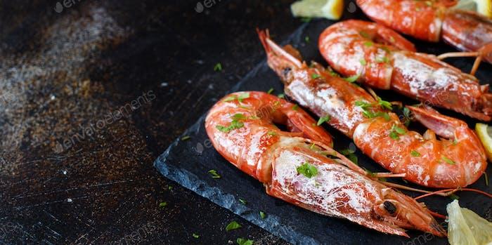 Grilled shrimps close up