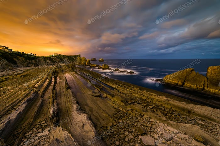 Dramatic view of Playa de la Arnia, Cantabria, Spain